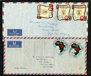 SIERRA LEONE - 1969 - POSTAL HISTORY - TWO COVERS TO ISLE OF MAN - FREETOWN CDS