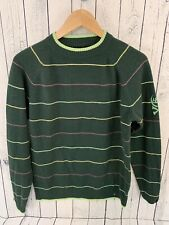 686 Snowboard Green Striped Pullover Sweater Size Medium