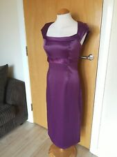 Ladies Dress Size 10 Purple Satin Wiggle Pencil Party Evening Smart