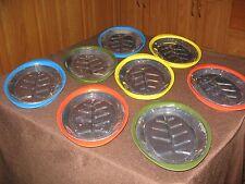 New listing Vintage Steak Plates Retro Plastic / Aluminum Set 8 Orange Yellow Nordic Style