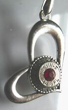 """BULLET THROUGH THE HEART  16 CRYSTALS, 38  S&W W/RED STONE 18""""  NECK CORD  NEW"""