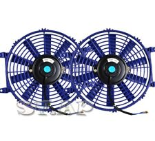 "Universal 2X 12"" Slim/Thin Push/Pull Electric Radiator/Engine Cooling Fan Blue"