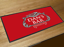 Personalised With Any Name Silver Beer Label Red bar runner home bar counter mat