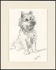 CAIRN TERRIER CHARMING SITTING DOG LUCY DAWSON DOG ART PRINT READY MOUNTED