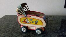 Vintage Tin Baby Stroller Carriage Celluloid Made in Japan Collapsing Canopy