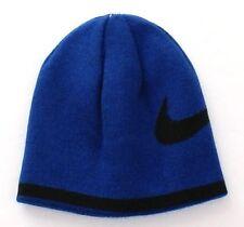 Nike Reversible Blue & Black Swoosh Beanie Skull Cap Youth Boy's 8-20 NWT