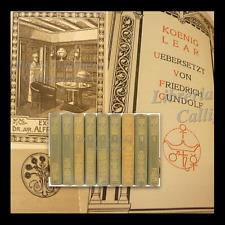 SHAKESPEARE IN TEDESCO DEUTSCHER SPRACHE 9 voll ~1910 Bondi ex-libris Tiedemann