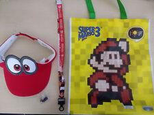 Nintendo E3 2017 Super Mario Odyssey HAT, PIN, LANYARD & BAG! Free Shipping!