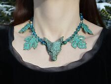 African turquoise wolf necklace forest witch leaf green man pagan nature wicca