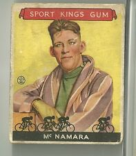 1933 Sport Kings Gum Reggie McNamara Bicycling Card # 15 Good Condition