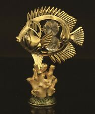 24K GOLD PLATED BUTTERFLY FISH HAND ENAMELED PEWTER BASE W/ SWAROVSKI ELEMENTS
