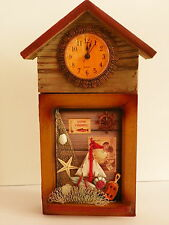 KEY ORGANIZER WALL CLOCK DECOR WOODEN BOX CASE 4 HOOKS VINTAGE COLLECTIBLE FISH