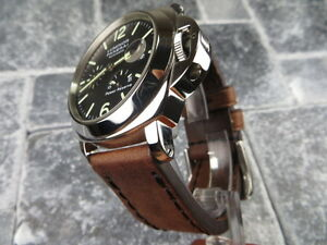 24mm NEW COW LEATHER STRAP Brown Watch Band Black Stitch for PANERAI 1950 24 mm