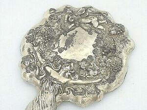Antique Art Nouveau Plated Hand Mirror W/Full Body Woman & Cupid/High Repousse