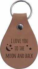 I Love You To The Moon And Back Genuine Leather Key Chain - Made in USA