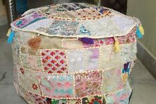 Indian Patchwork Round Pouf Ottoman Cover Foot Stool Moroccan Pouffe Cover-125*