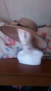 Ladies Formal Hat WHITELEY Wedding Races Ascot Mother of Bride Beige Hat & Bow
