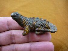 (Y-Liz-Ch-704) Brown tan jasper Chameleon Lizard gemstone carving I love Lizards