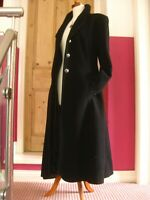 Ladies black wool full length long TRENCH COAT 18 16 military victorian duster