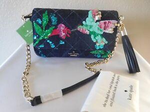 New Kate Spade New York Emerson Place Hummingbird Serena Dark Denim Shoulder Bag