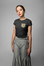 Womens FASHION T-Shirt ORGANIC LEOPARD Pocket Print Trendy Hipster Unisex Gift