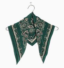 Pure Silk Women Square Scarves Girls Head Neck Kerchief Bandana Vintage Green