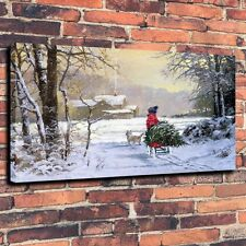 New Year,picture Christmas Tree, Boy Dog Art Canvas Prints 16X24 Unframed