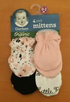 Gerber Baby Girls Organic Cotton 4-Pack Mittens 0-3 month Pink - FREE SHIPPING!