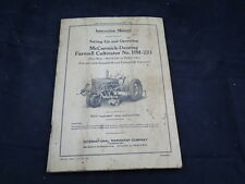 McCormick Deering Farmall Cultivator Operating Instruction Manual HM-221 Tractor
