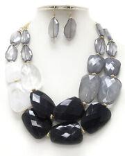 CHUNKY Multi  Acrylic Stone Black White Shades Of Black  Double Necklace Set
