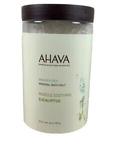 AHAVA Dead Sea Mineral Bath Salts-MUSCLE SOOTHING EUCALYPTUS - 32 oz -NEW