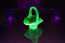 "True Uranium Glass 3.5"" Basket Amazing Luminous UV Glows Super Bright"