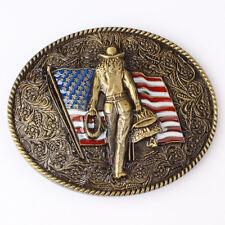 Vintage Flag Belt Buckle Western Cowboy Native American Motorcyclist (FLG-04)