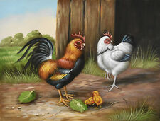 Original oil painting - HEN and ROOSTER Christian Petit - 42x32 cm