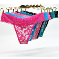 6 Pack Women Ladies Sexy Lace Trim Thongs G-string Knickers Underwear,Sz 8-14