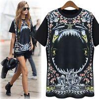 Black T-shirt with Unique Graphic Print Vintage Punk Rock New Long Women Tshirt