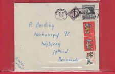 1957 Xmas Card to Denmark with five Xmas Seals front and back Canada cover
