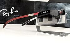 NEW Ray Ban Tech RB 8305 142/T3 Carbon Fiber Red/Grey POLARIZED Occhiali da sole
