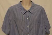 Ulla Popken relaxed fit blue white striped SS blouse womens 2X 20-22