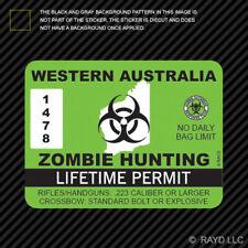 Western Australia Zombie Hunting Permit Sticker Decal Vinyl Australian Aussie AU