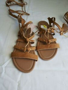 SOHO GIRLS BROWN LACE UP GLADIATOR SANDALS SIZE 6 NEW