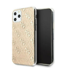 Genuine Guess 4G Silicone Gold Glitter Transparent Case for iPhone 11 Pro Max