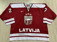 2005 WC Retro IIHF Latvia Latvija Gameworn Ice Hockey Jersey Nike Size 56 #47