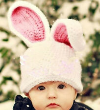 Baby Toddler Kid Boy Girl Crochet Knitted Rabbit Ear Beret Beanie Winter Hat Cap