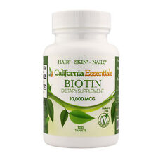 Biotin 10 000 mcg Maximum Strength High Potency 100 Tablets Hair Skin and Nails