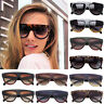 Ladies Oversized Flat Top High Quality Shield Tortoise UV400 Womens Sunglasses