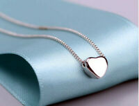 Cute Heart Charm Pendant 925 Sterling Silver Chain Necklace Women Jewellery Gift