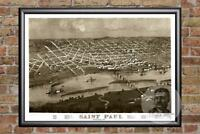 Vintage St. Paul, MN Map 1867 - Historic Minnesota Art Old Victorian Industrial