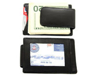 Men's Genuine Leather Magnetic Money Clip Credit Card Id Holder Wallet Black