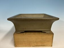 Square Unglazed Tokoname Bonsai Tree Pot By Kataoka Toen 11 7/8 By 4 1/8�